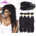 Brazilian Deep Wave With Closure 7A Brazilian Virgin Hair 4 Bundles With Closure Brazilian Deep Curly Virgin Hair With Closure