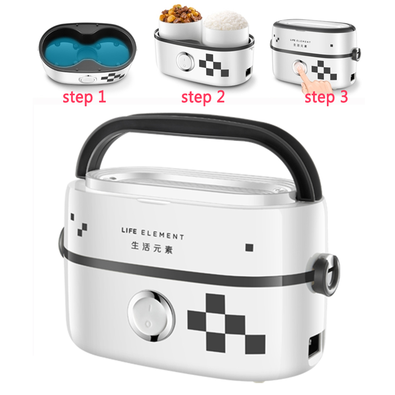 J64 1L Portable Electric Heating Lunch Box Food Warmer plug-in with seal cover 2 ceramic liners One-button operation School Home vicor vi j64 cy vi j64 ey