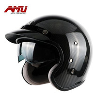 Discount Motocross Helmets Ultra Light Carbon Fiber Vintage Helmet 3 4 Open Face Scooter Vintage Harley