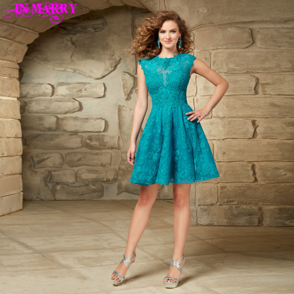 Teal Lace Short Prom Dresses with Sleeves | Dress images