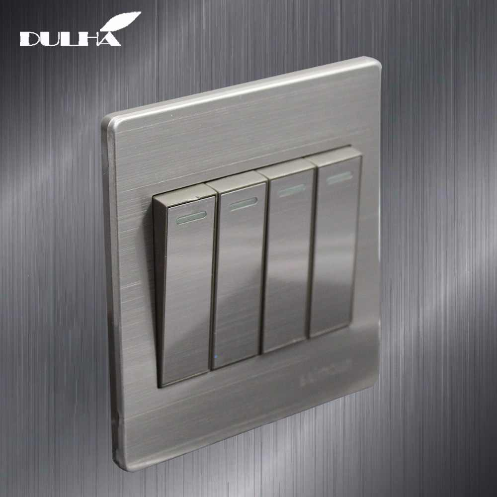 4 Gang 1 Way Light Wall Switch 10A 110~250V 220V Electrical Push Button Lamp Switches Luxury Satin Metal Stainless steel Panel