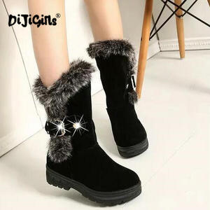 Image 1 - fashion New Ladies non slip Winter Women casual Warm Fur Mid Calf Boots women flat Round Toe Slip On Snow Boots women mujer