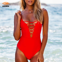 One Piece Swimsuit 2017 Sexy Swimwear Women Swim Bathing Suit Vintage Summer Beach Wear Black Red