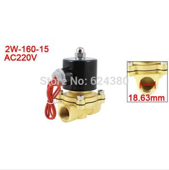 2W-160-15 1/2'' PT Join Pipe Bore 2 Position Two Way Pneumatic Air Electric Solenoid Water Valve NC Normal Closed DC 24V AC 220V upvc 2 way dn40 plastic electric valve tf40 p2 c ac dc9 24v 2 wires 11 2 normal close valve 10nm on off 15 sec metal gear ce