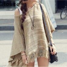 Осень, винтажный пуловер, Повседневный, полый, неровный, вязанный, с кисточками, накидка, шаль, рукав летучая мышь, свободный свитер, пончо для женщин