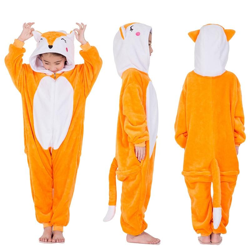 ff17df2389 Los niños Fox Kigurumi Onesie Animal de dibujos animados ropa de dormir  pijama naranja blanco de una sola pieza niños traje de pijamas de invierno  traje