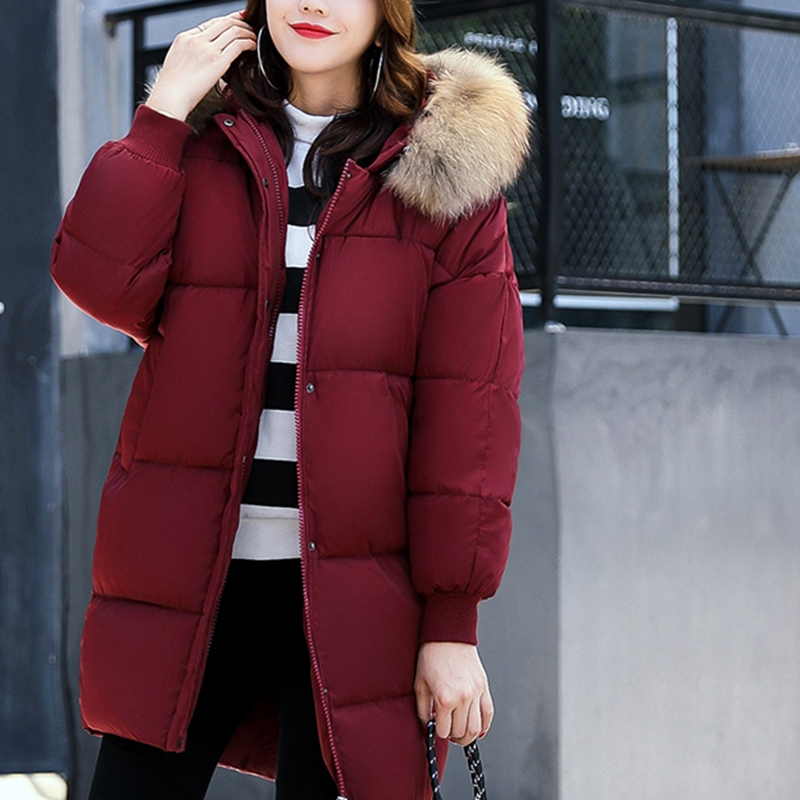 red Hiver Green Manteau Gray dark Army Long black Couleur 2017 Taille brown Coton Moyen Solide Grande Dates Sleevess Capuche Chaud New Femmes Ko125 À Ux4x5wTq