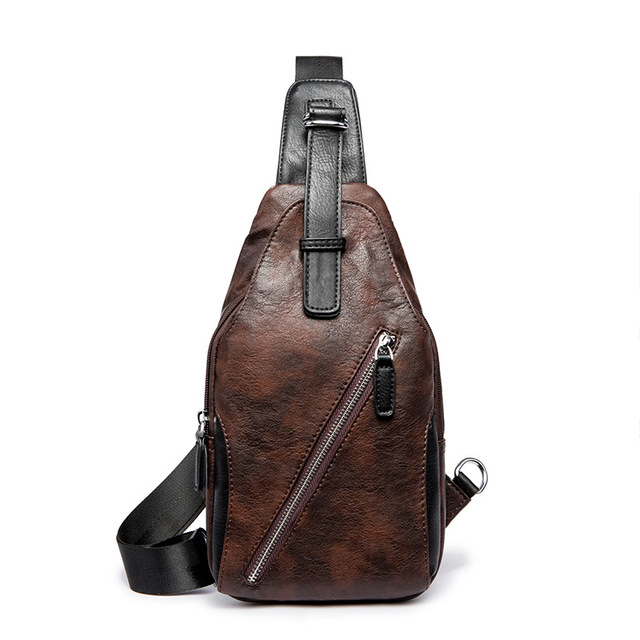 6ad3ebab1b36 Solid Chest Bag for Men Thin Messenger Bags Men s PU Leather Chest Bags  Back Pack Crossbody