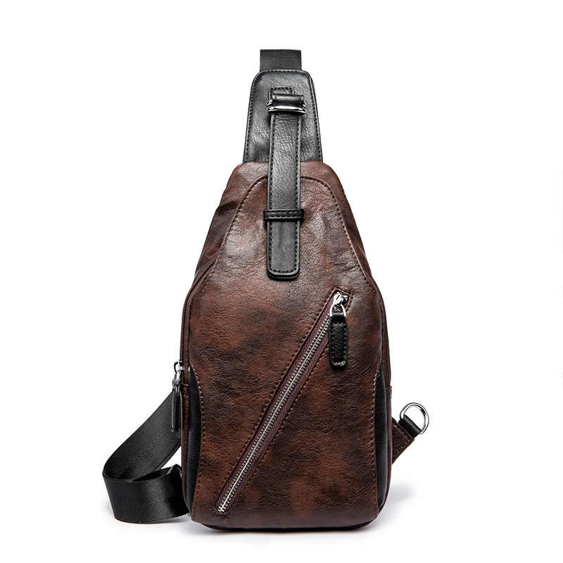 7412595561 Solid Chest Bag for Men Thin Messenger Bags Men s PU Leather Chest Bags Back  Pack Crossbody