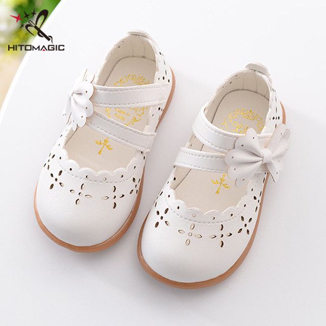 HITOMAGIC Baby Girl Shoes Toddler Girl Shoes For Children's Footwear Princess Hollow Bowtie Pink Breathable Hooks Child Shoe