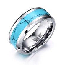 8 мм Классический Простой дизайн вольфрамовые кольца для мужчин голубой бирюзовый натуральный камень кольца для мужчин Шарм вечерние кольца Mujer