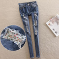 2016 Floral fabrics hole jeans summer women trousers pencil pants elastic pants plus size 25-32