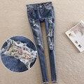 2016 telas Florales verano pantalones vaqueros del agujero mujeres pantalones lápiz pantalones elásticos más el tamaño 25-32