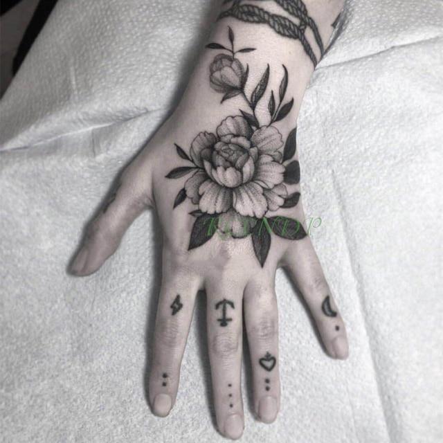 47b839e35 Waterproof Temporary Tattoo Sticker Rose Flower Moon Anchor Fake Tatto  Flash Tatoo Hand Arm Foot Back Tato for Girl Women Men