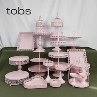 19pcs 3 Tier Birdcage Birthday Bling Dessert Display Pop Decoration Cake Stand With Crystal