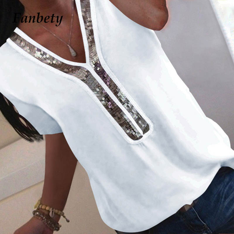 Fanbety 5XL Women Sexy V-neck Sequins Chiffon Blouse Blusa Office Lady Blouses Tops  Summer Elegant Office Ladies Blouses Tops(China)