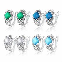 Luxury Crystal Zircons Piercing Ear Cuff Stud Earrings For Women Bijoux White Gold Color Earring Indian