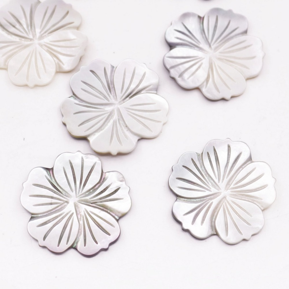 Купить с кэшбэком 10 PCS Gray Shell Flower Charms Natural Mother of Pearl Jewelry Making DIY 33mm
