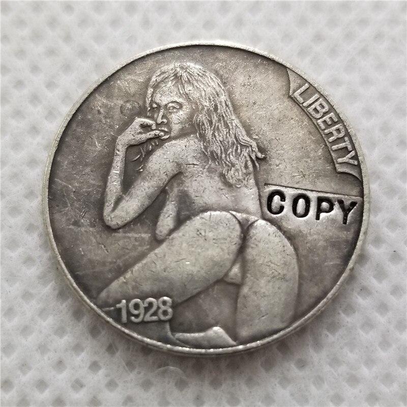 Хобо Никель Coin_Type # 45_1928-D с гравировкой в виде американского бизона из никеля копия монет