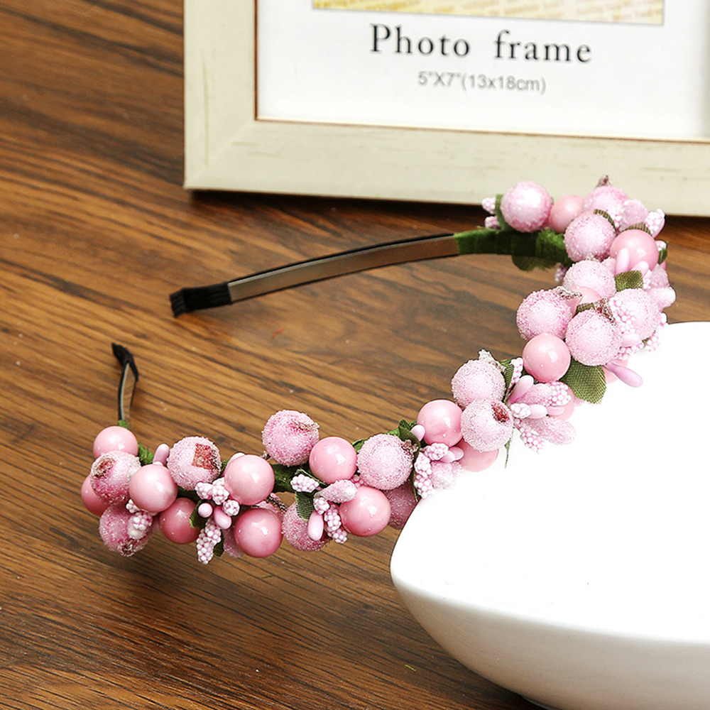 2018 New Fashion Flower hair accessories Crown Wedding Berry Flower turban hairband Party headband Women Girls White   Headwear