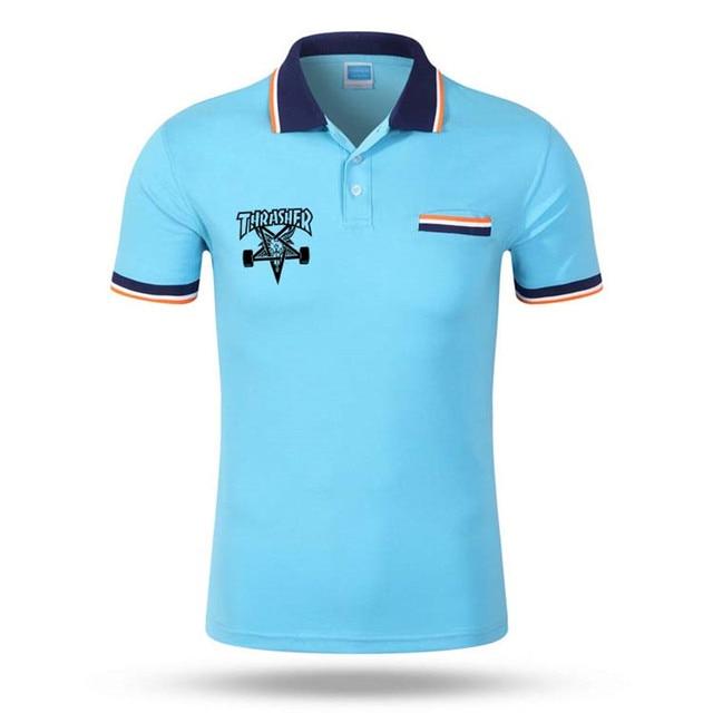 Thrasher polo shirt men letter print Short sleeve men's polos new arrival fashion brand polo shirts man trasher slim polos