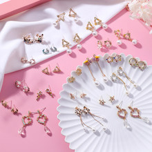Korean Fashion Lovely Tassel flower Dangle Earrings Summer Sweet colored garland rhinestone petals earring for Girl Cute Jewelry(China)