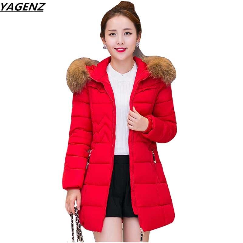 2017 Zimní bavlněná bunda dámská s kapucí límec středně - Dámské oblečení