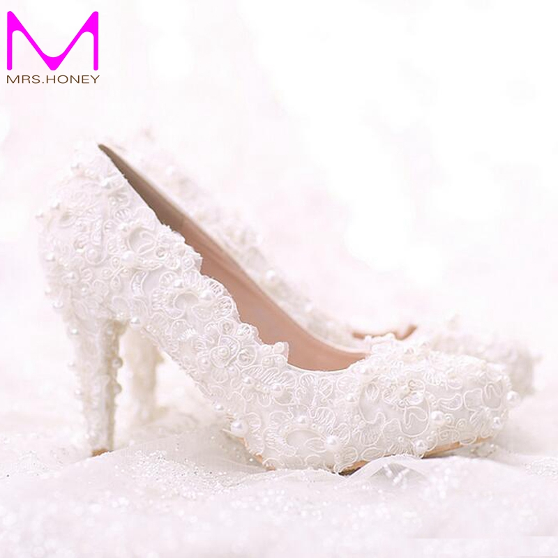 ФОТО Comfortable High Heel White Pearl Sweet Lace Bridal Shoes Bouquet Wedding Party Dress Shoes 2016 Latest Beautiful Women Shoes