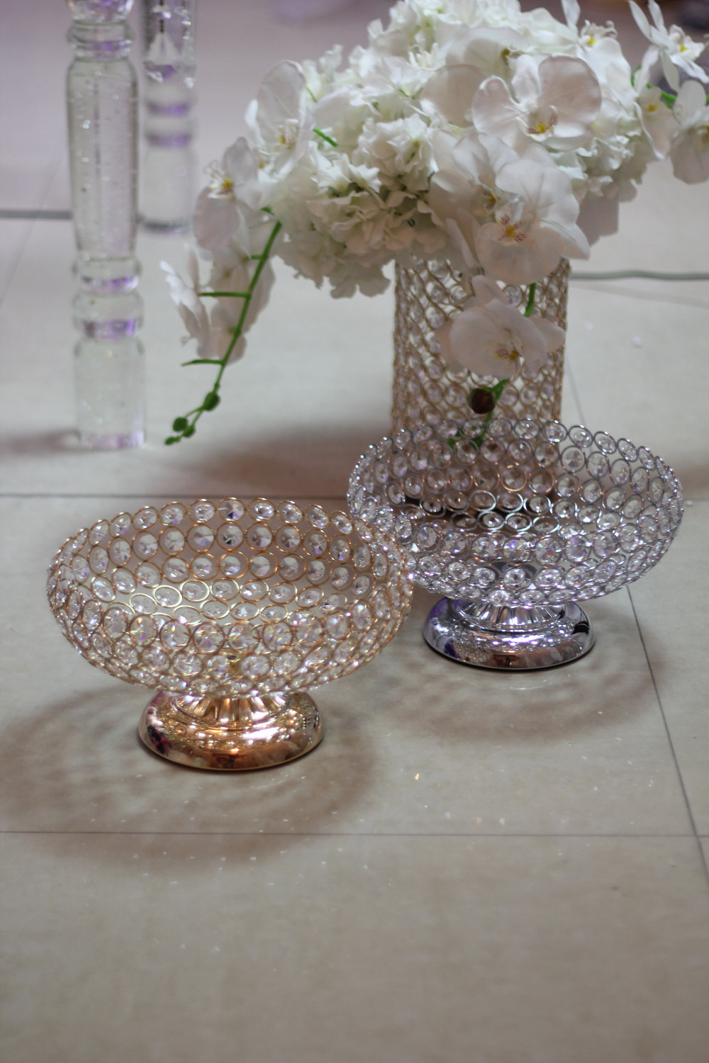 Nice Crystal Bead Fruit Tray Plate Bowl Stand Dimeter 9.84inch  wedding centerpieces
