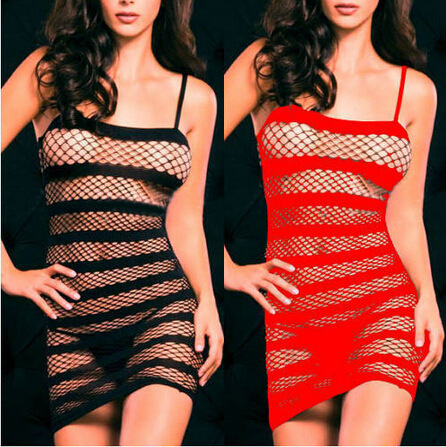 Hollow Out Baby Doll See-through Mini Chemise Dress