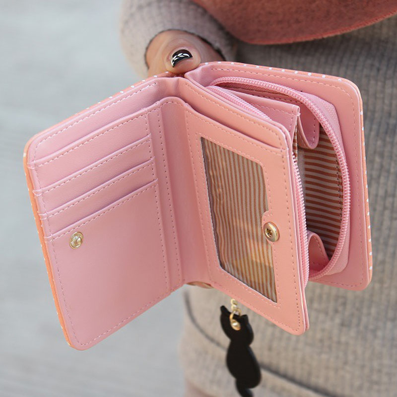 Fashion Small Wallet Women Short Luxury Brand Cute Female Purse PU Leather Cat Design Girls Lady Zipper Wallets Card Holder Bags 20