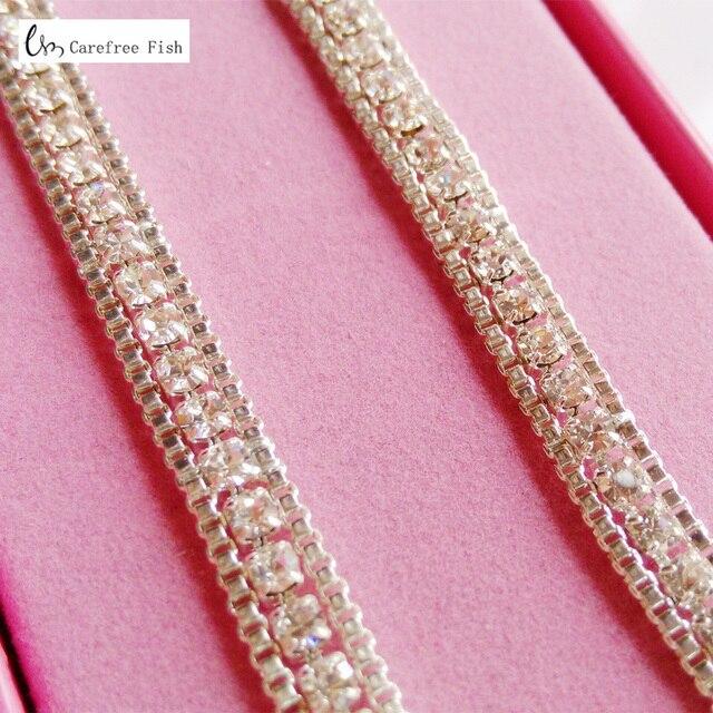 d1af2dd5770b4 Adjustable Silver Crystal Rhinestone Diamante Bra Strap Wedding Bridal One  Row Clip Bra Underwear Shoulder Strap