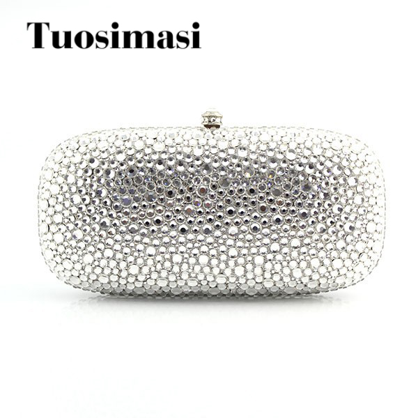 Luxury Silver Crystal Clutch Evening Bags white big diamond women wedding party bags women custom name crystal big diamond clutch full crystal hot selling 2017 new fashion evening bags 1001bg