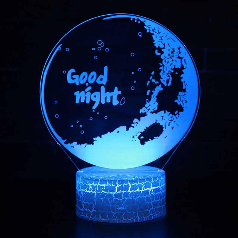 Lámpara Led De Noche Con Temática 3d 7 Colores Cambio De Ambiente Táctil Regalo De Navidad Envío Directo Luces De Noche Led Aliexpress