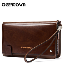 High Quality New Men's Fashion Casual Long Genuine Cowhide Leather Zipper Large Capacity Wallet Hand Bag Clutch Purse