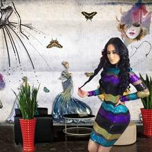 Sexy Mesh Sheer Striped Sequin Dress Women Turtleneck Long Sleeve Bodycon Mini Elegant Club Sparkly Party Dresses