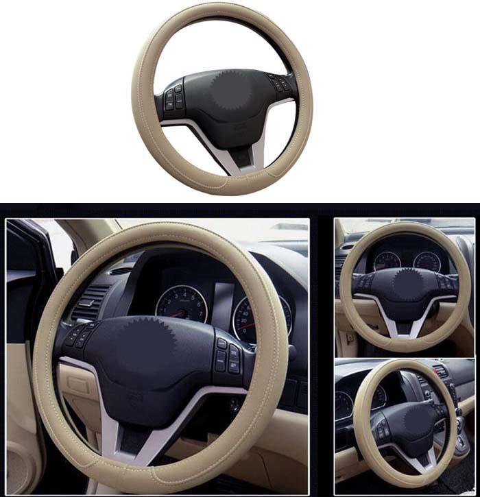38cm Universal Car Steering Wheel Cover antislip fashion microfiber PU leather black/cream/gray color Wh