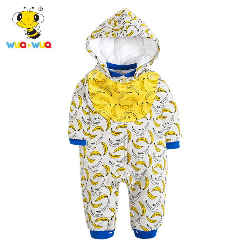 Wua Wua Cute Winter Hooded Romper Baby Boys Girls Warm Jumpsuits With Bibs Long Sleeve Infant One Pieces Clothes For Newborn cotton baby rompers set newborn clothes baby clothing boys girls cartoon jumpsuits long sleeve overalls coveralls autumn winter