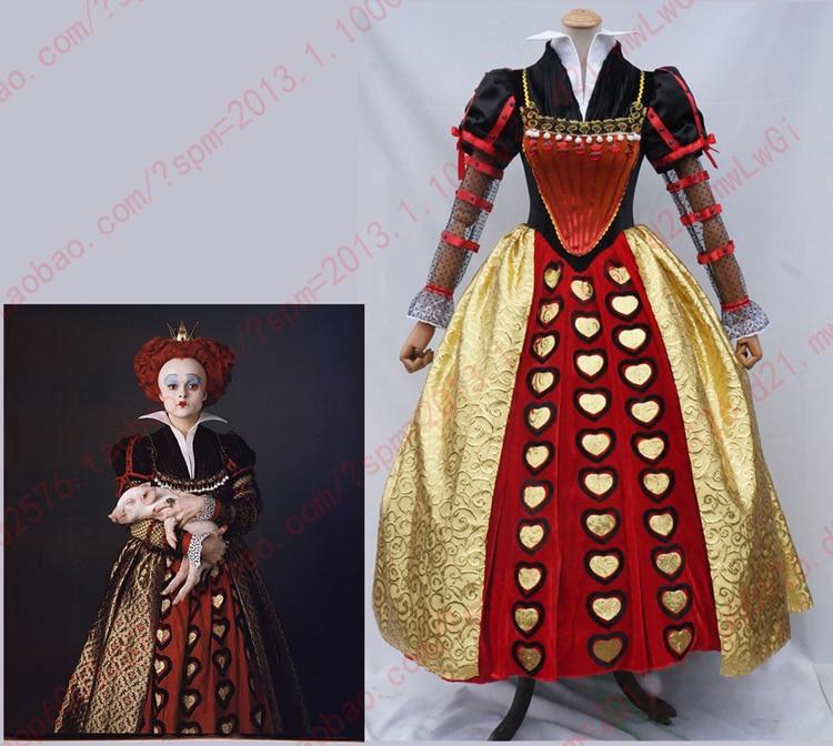Egyedi készítésű, kiváló minőségű Alice Csodaországban A Red Queen ruha ruha felnőtt nők Halloween Cosplay jelmez