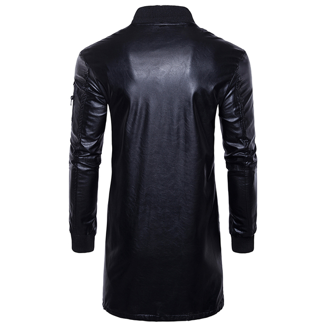 Autumn New long Leather Jacket Fashion Casual Men Long Section Solid Color Male Youth Trend Motorcycle PU Leather Jacket Coat