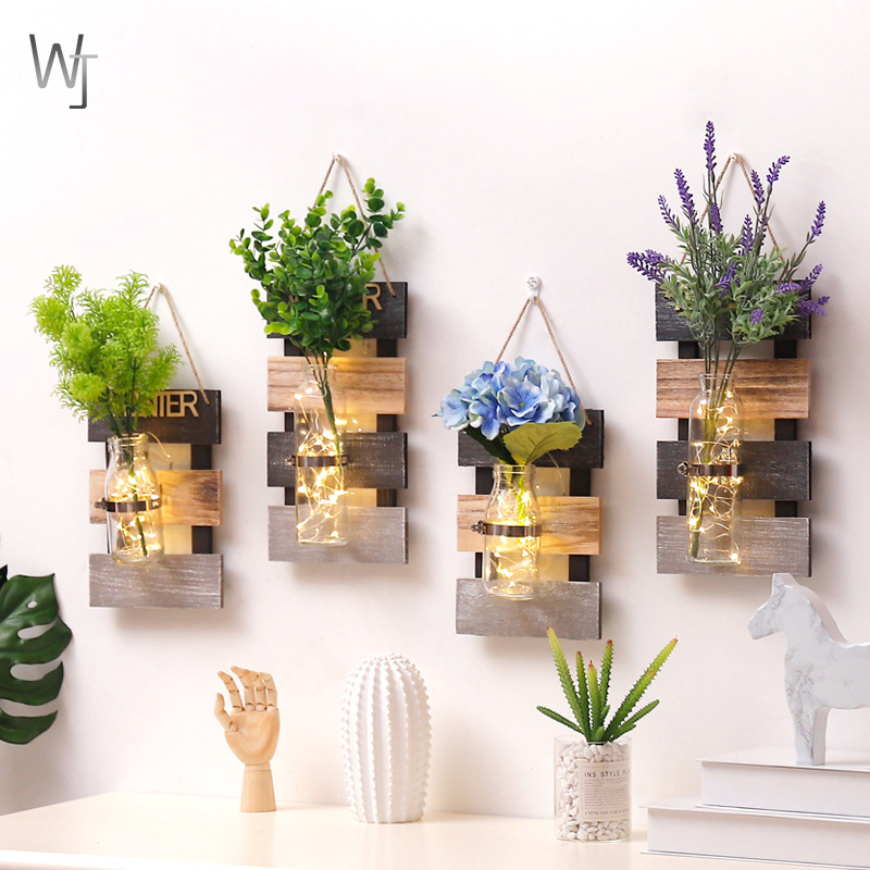 Rustic Creative Home Wooden Wall Hydroponic Plant Vase Container Living  Room Bedroom Wall Decoration Hanging