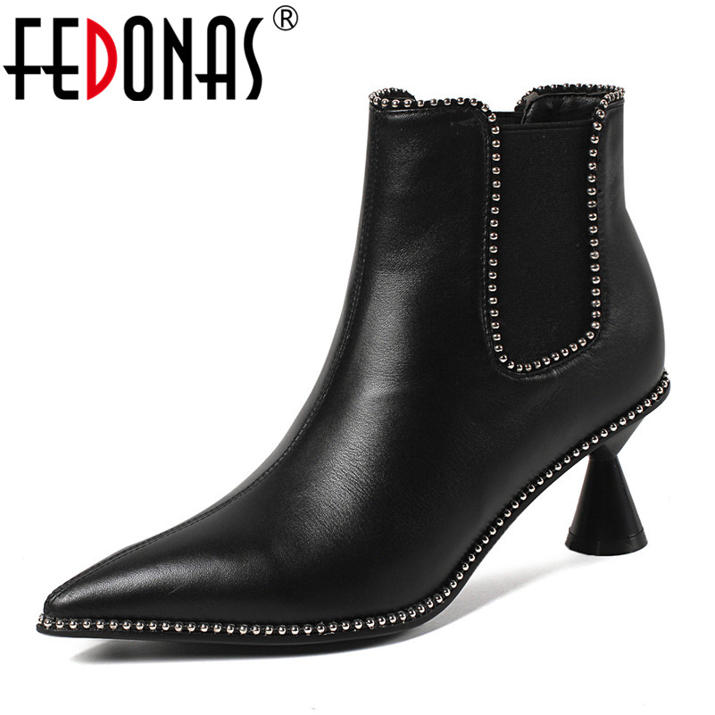 FEDONAS Punk Women Ankle Boots High Heels Slip On Autumn Winter Pointed Toe Office Pumps Rivets Sexy Genuine Leather Office Pump w13pcs503e electric pressure cooker double gall intelligent electric pressure cooker rice cooker 5l genuine home