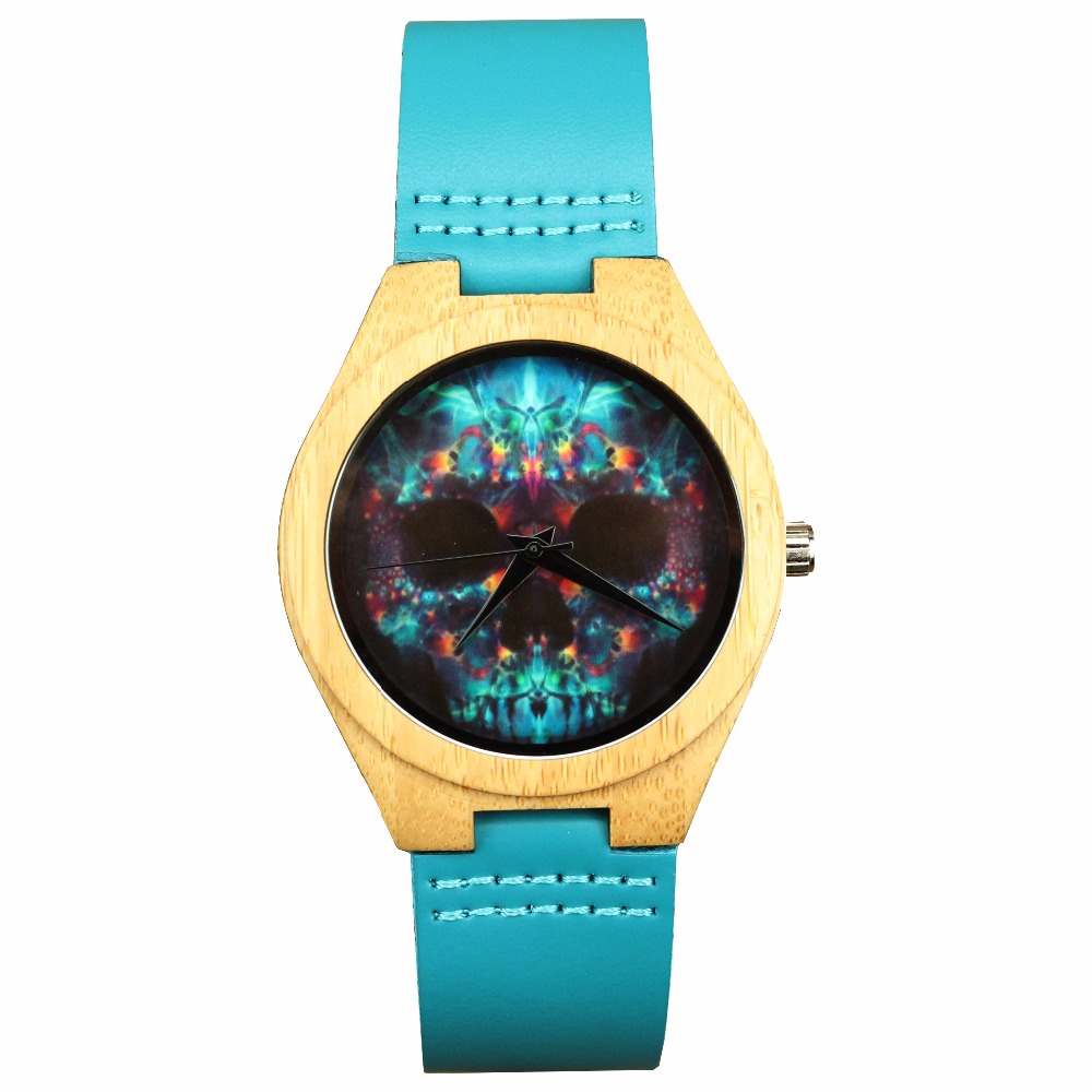 Luxyry Hotime Brand Bamboo Watches For Men And Women With Blue Genuine Cowhide Leather Band Skull Wood Watch Relogio Masculino
