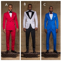 Hot Selling Men's Wedding Prom Dinner Suits Red White Blue Groom Tuxedos Best Man Grooms Man Blazer 2 Pieces Custom Made 2016