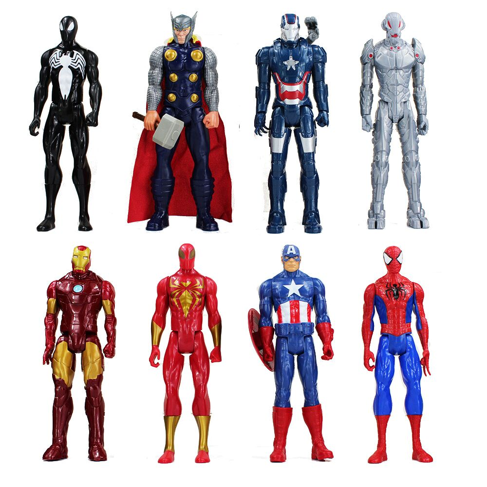 SuperHeros The Iron Man Captain American Thor Spiderman hero PVC Toy Action Figure Model Doll Toys 1230cm 3d eye minions cos the avengers superheroes iron man captain american pvc action figures kids collection model toys 12cm