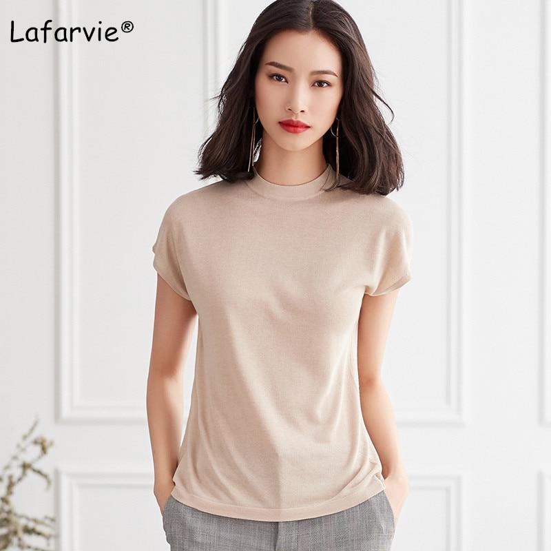 Lafarvie Knitted Linen Sweater Women Summer O-Neck Short Sleeve Thin Solid Soft Comfortable Knitting Jumper Shirt Beige M-XL