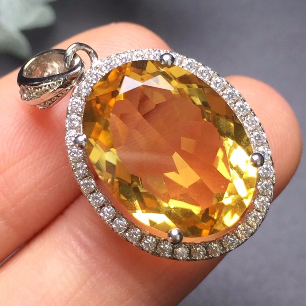 On SaleFine Jewelry S925 solid sterling silver Natural Citrine Gemstone Female Pendant Necklace for women fine pendant necklaces