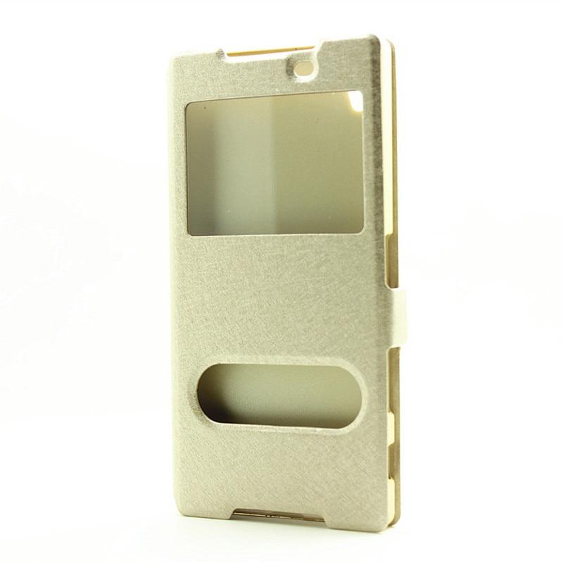 imágenes para Para Sony Z5 Caso Superior de Seda Textura de Cuero de Doble Ventana de Visualización Caso Del Tirón magnético Para Sony Xperia Z5 Z5 Plus Premium 5.5 pulgadas