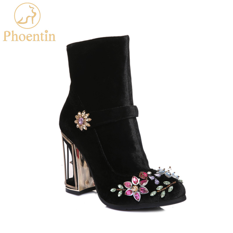 Phoentin black rhinestone flower women boots for wedding retro ladies ankle boots bird cage high heels zipper velvet shoes FT466 delicate rhinestone blue resin retro bird brooch for women