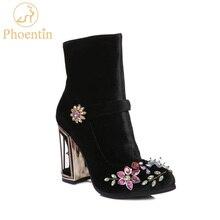 Phoentin black rhinestone flower women boots for wedding retro ladies ankle boots bird cage high heels zipper velvet shoes FT466